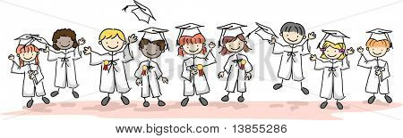 Illustration of Kids Wearing Caps and Gowns