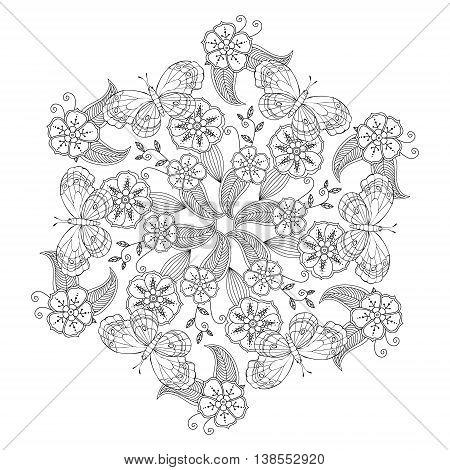 Mendie Mandala with butterflies, flowers and leaves. Zenart inspired. Vector illustration