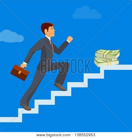 Business achievement, businessman attains success and reaches his aims, vector flat illustration