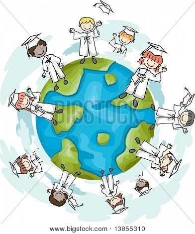 Illustration of Graduates Standing on the Top of the World