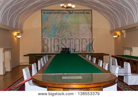 Samara Russia - June 25 2016 Command room in Stalins bunker in Samara Russia