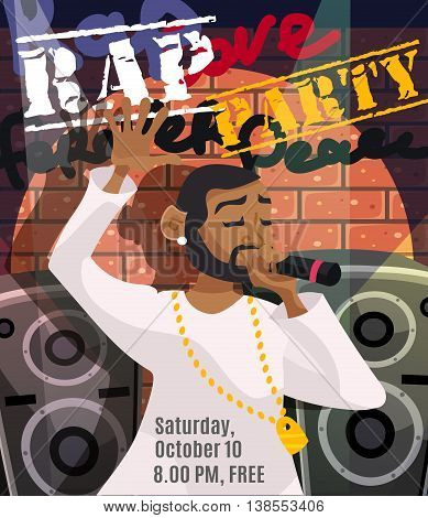 Rap concert poster with black singer and sound system on background vector illustration