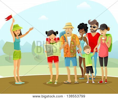 Group of cheerful male and female tourists with backpacks and map during tour vacation with young woman guide on mountains and trees background cartoon vector illustration.