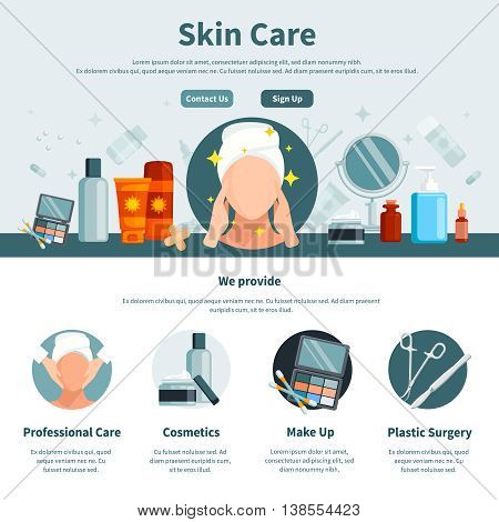 Skin care one flat page for web design with contact information professional and make up cosmetics circle icons vector illustration