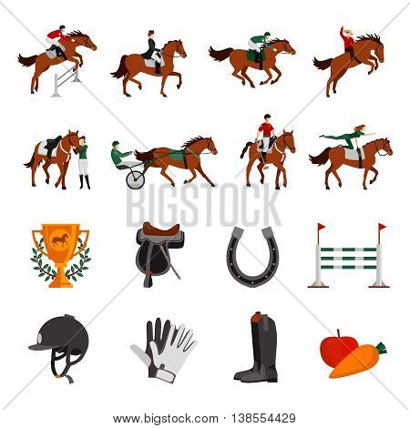 Horse rising sport flat color icons with rider on horseback jockey in carriage horseshoe fence prize images isolated vector illustration