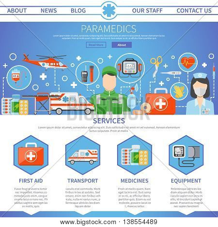 Paramedic advertising template for website with contact information and decorative icons set of medical services tools and  ambulance transport flat vector illustration