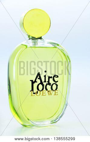 KIEV UKRAINE - July 31 2012. Illustrative editorial photo - eau de parfum (perfume)Aire Loco Loewe