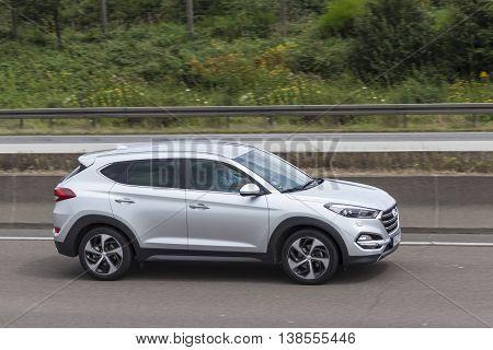 FRANKFURT GERMANY - JULY 12 2016: Hyundai Tucson SUV on the highway in Germany