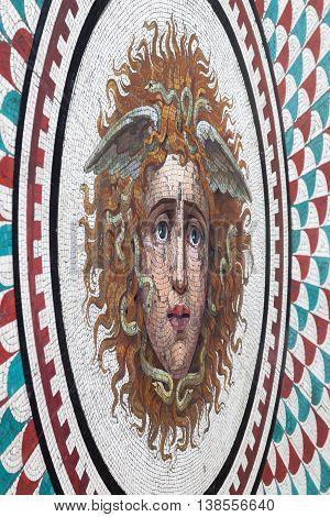 SAINT PETERSBURG RUSSIA - JUNE 29 2016: Floor mosaic Medusa Gorgon in Hermitage Pavilion Hall