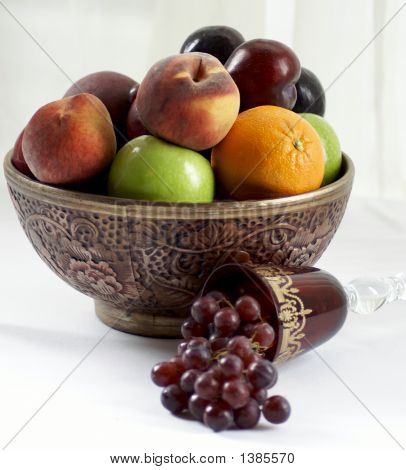 Fruit Bowl With Wine Glass