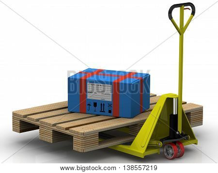 Parcel delivery. Blue parcel is on the pallet jack. Isolated. 3D Illustration