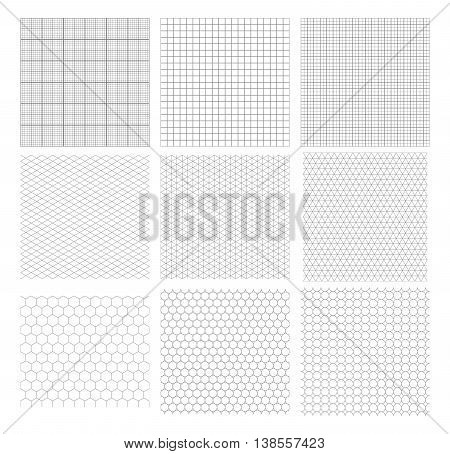Set of nine gray geometric grids seamless patterns isolated on white. Millimetric isometric hexagonal and circles