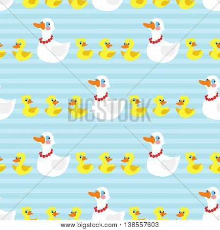 Seamless pattern with mother duck and ducklings on striped blue background. Vector illustration.