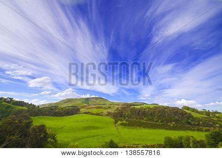 Landscape Scenery Of Green Valley With Trees, Hill And Cloudy Blue Sky