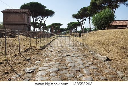 Latin Tombs public Park Roman road in Rome Italy