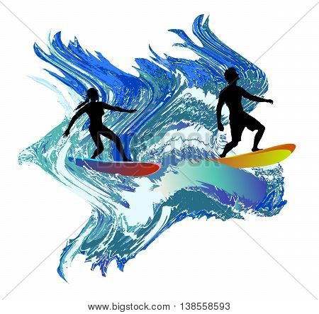 Silhouettes of surfers in the turbulent waves. Boy and girl with surfboards