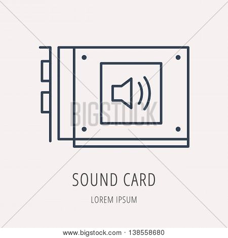 logo or label PC upgrading. Line style logotype template with sound card. Easy to use business template. Vector abstract emblem.