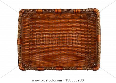 Top view of a rectangular wooden empty basket isolated on white background