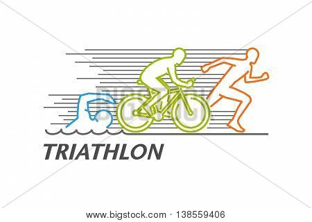 Vector colored line logo triathlon. Figures triathletes on a white background. Swimming cycling and running symbol. Open path.