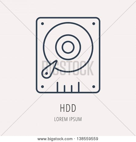 logo or label PC upgrading. Line style logotype template with HDD. Easy to use business template. Vector abstract emblem.