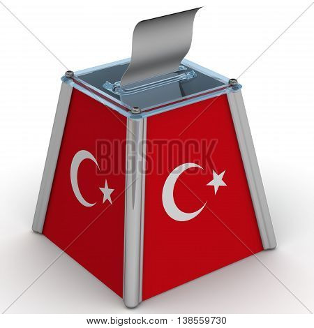 Ballot box to vote with the flag of Turkey and ballot sheet is on the white surface. Isolated. 3D Illustration