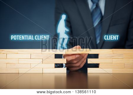 Businessman (client care helps potential client become real client.