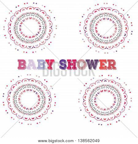 Vector baby shower. Symmetry circle shape child decoration. Baby shower or birthday invitation template.Mandala