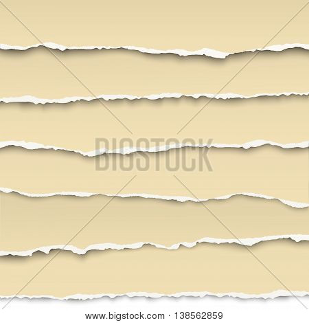 Oblong layers of torn yellow pieces of papers placed one over another