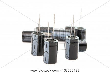 Capacitors electricity technology  isolated on white background