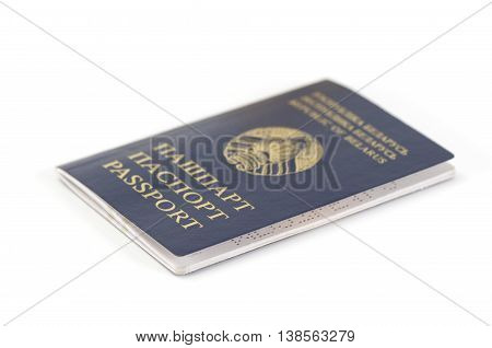 Close-up of a Belarussian Passport on white background
