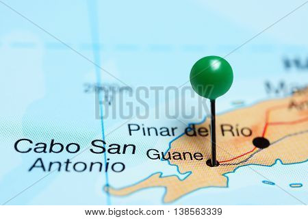 Guane pinned on a map of Cuba