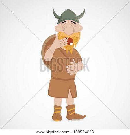 Funny cartoon viking yawning with closed eyes