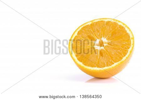 Fresh orange slice isolated on white background