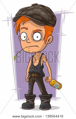 A vector illustration of cartoon redhead hooligan with bruise