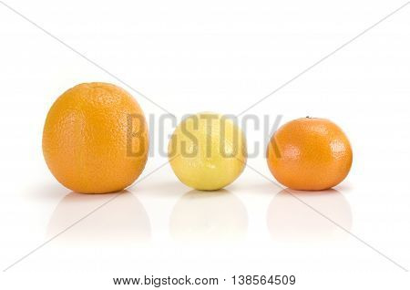 Orange mandaring and lemon isolated on white background