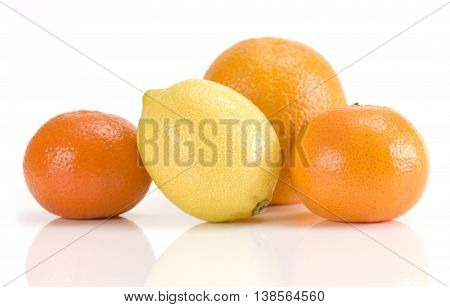 Group of fresh orange lemon and mandarins isolated on white