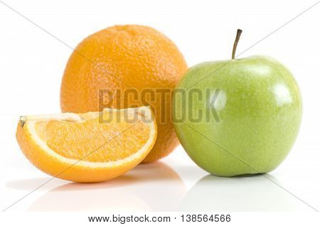 Fresh apple orange and orange slice isolated on white background
