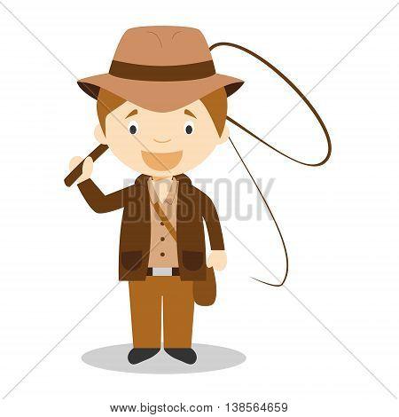 Cute cartoon vector illustration of an Adventurer