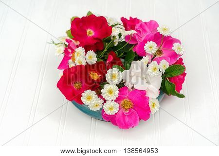 A bowl full of hardy garden roses and matricaria.  The roses are from the explorer series of roses and include the varieties 'William Baffin, 'Henry Hudson' and 'Champlain'. poster