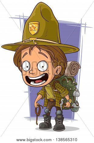 A vector illustration of cartoon smiling young boyscout in big hat