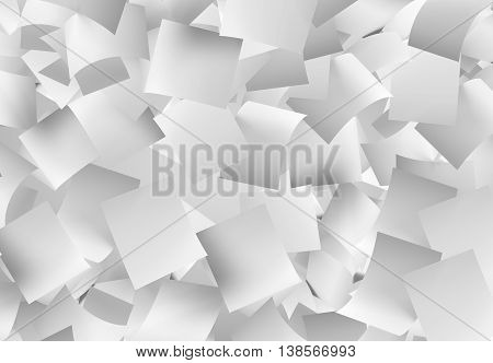 horizontal 3d illustration a large amount of white empty papers falling