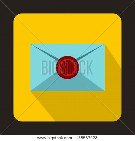 Envelope with red wax seal icon in flat style on a yellow background