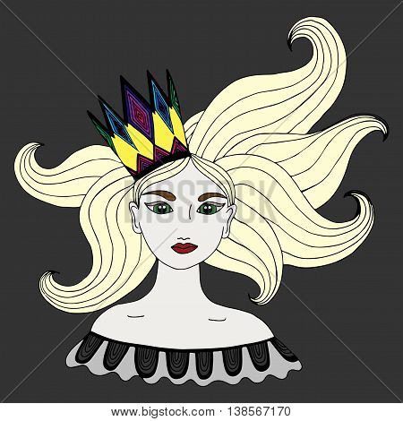 Colorful portrait of girl in a crown with long blond hairs can be used as a card of beauty shop and other salon. Mono color black line art element for adult coloring book page design.