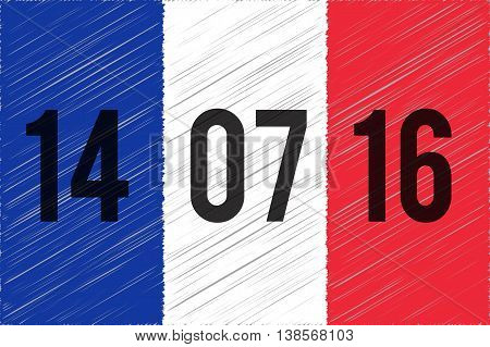 France national flag. 14 June 2016 written on the flag. The day of terrorist attack in Nice France. Tribute to all victims of Nice terrorist attack. World mourns for France. Vector illustration.