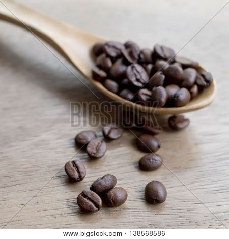 Closeup Coffee Bean scoop by wooden spoon