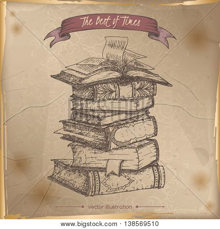 Book stack hand drawn sketch placed on old paper background. Vintage collection. Great for school, education, book shop, retro design.