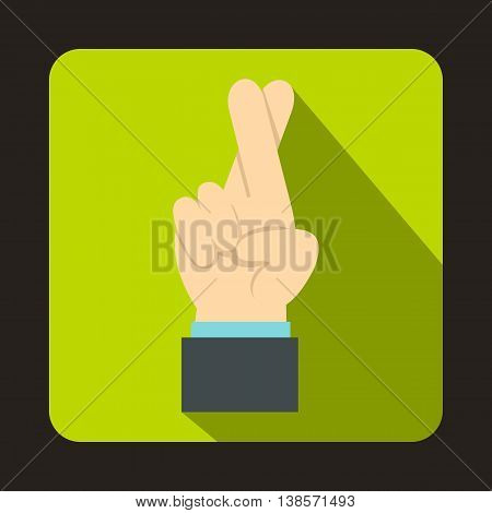 Fingers crossed icon in flat style on a green background