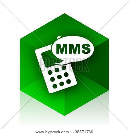 mms cube icon, green modern design web element