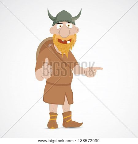 Viking with thump up and pointing with finger to empty space