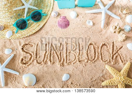 Sunblock Text In The Sand